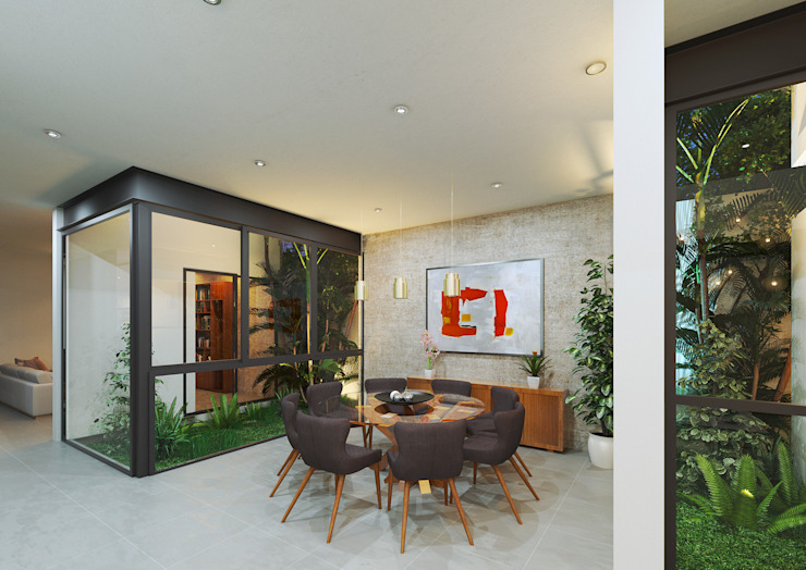 Modern dining room by Heftye Arquitectura Modern Concrete