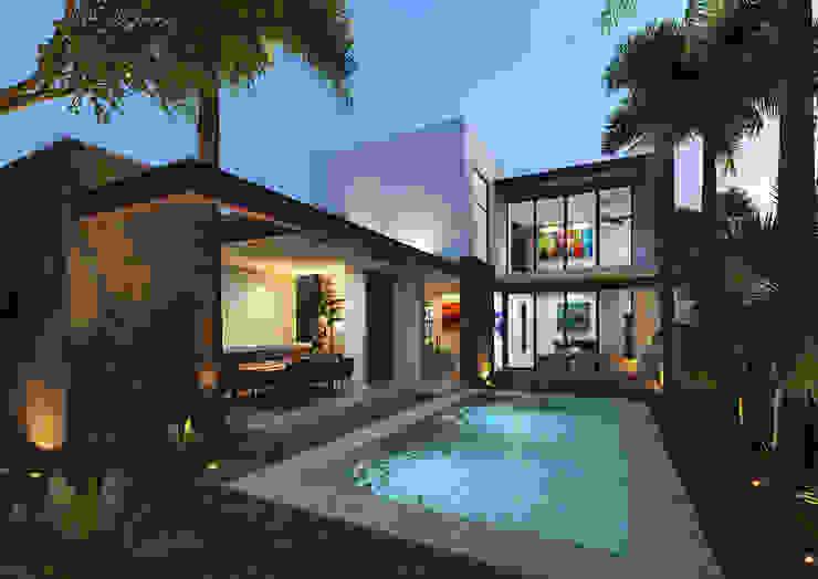 Fachada Posterior Balcones y terrazas modernos de Heftye Arquitectura Moderno