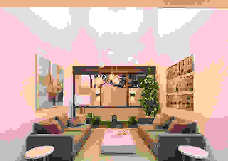 Sala a doble altura.: Salas de estilo  por Heftye Arquitectura,