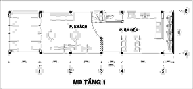 Tầng 1: Gồm có các không gian: sân trước, phòng khách, phòng bếp + ăn, 1 vệ sinh, cầu thang lên tầng. bởi Công ty TNHH Xây Dựng TM – DV Song Phát Hiện đại