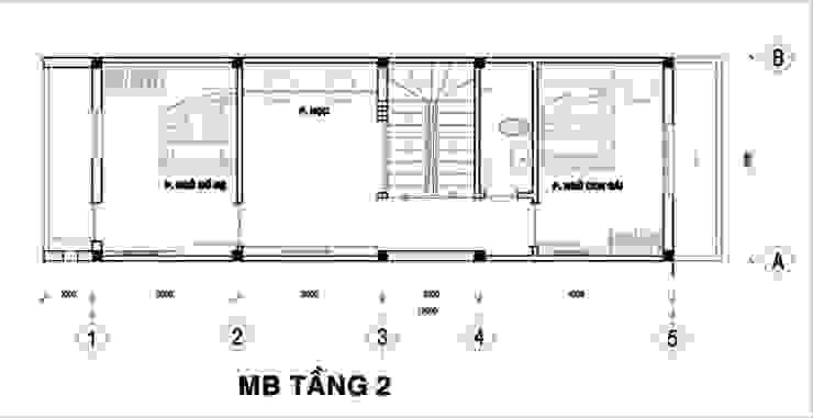 Tầng 2: là không gian của 2 phòng ngủ, phòng học/ phòng làm viêc và nhà vệ sinh chung. bởi Công ty TNHH Xây Dựng TM – DV Song Phát Hiện đại