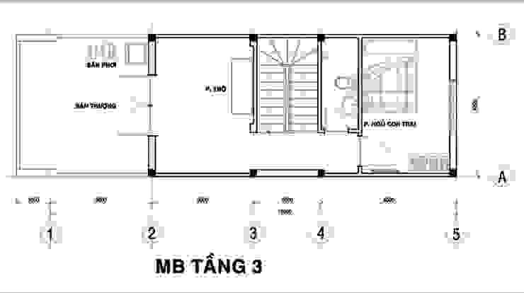Tầng 3: Gồm các không gian: 1 phòng ngủ, 1 phòng vệ sinh, phòng thờ, giếng trời và sân thượng. bởi Công ty TNHH Xây Dựng TM – DV Song Phát Hiện đại