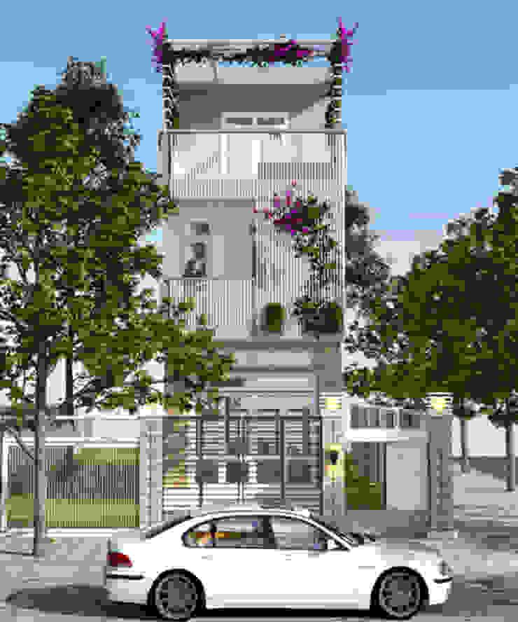 Thiết kế mặt tiền nhà 3 tầng mang phong cách hiện đại bởi Công ty TNHH Xây Dựng TM – DV Song Phát Hiện đại