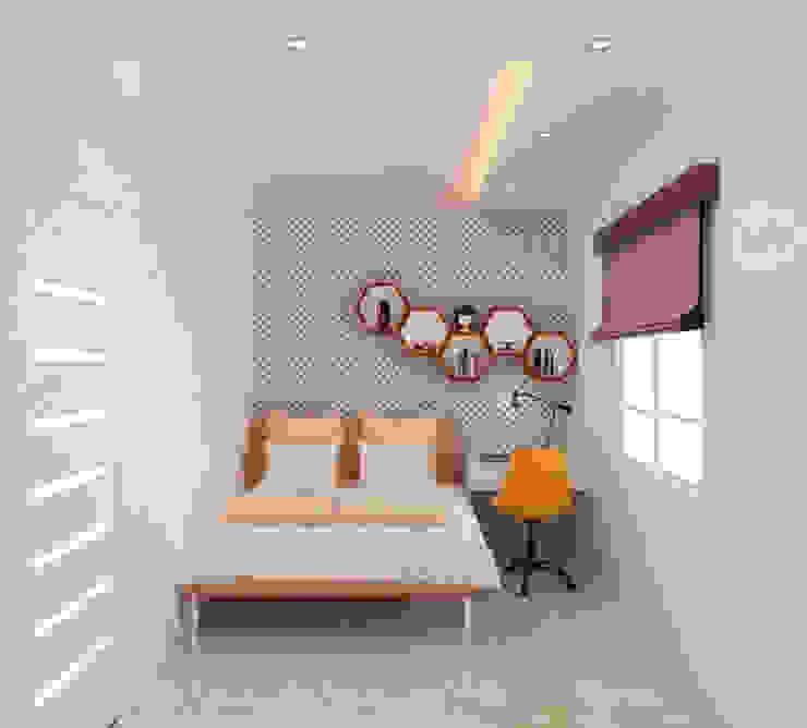 Tư Vấn Thiết Kế Nhà Ống 3 Tầng 67m2 Hiện Đại, Đầy Tiện Nghi Phòng ngủ phong cách hiện đại bởi Công ty TNHH Xây Dựng TM – DV Song Phát Hiện đại