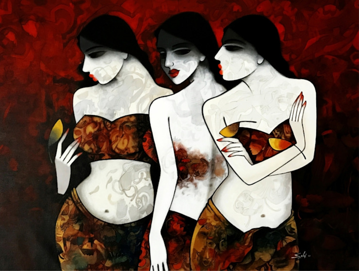 Three Sisters: asian  by Indian Art Ideas,Asian