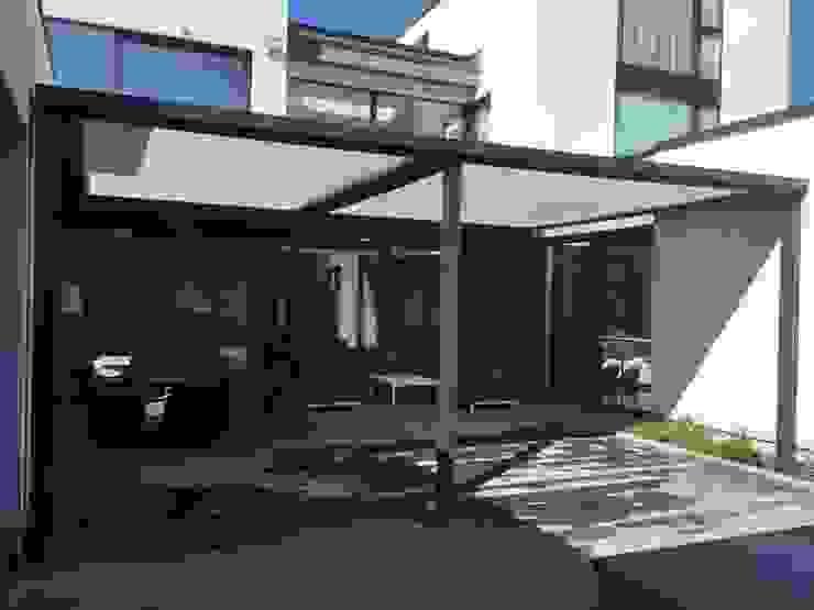 Outdoor Living Pergola Awning - Cubola - Modern Terrace by Flybird Installations Ltd Modern Aluminium/Zinc