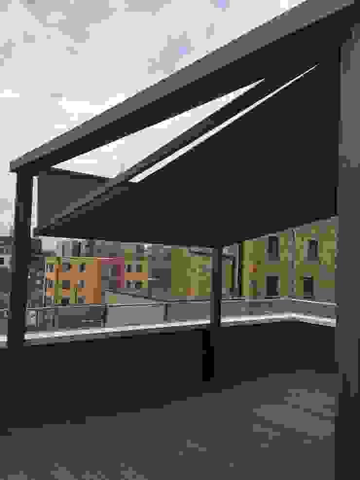 Outdoor Living Pergola Awning—Cubola - Modern Terrace by Flybird Installations Ltd Modern