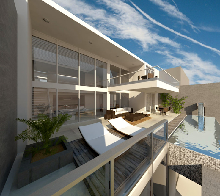 Modern style balcony, porch & terrace by bvtarquitecto Modern