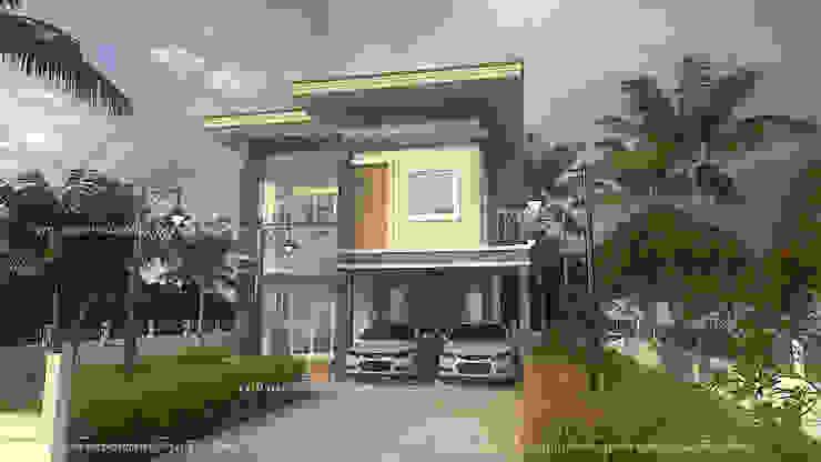 บ้านสองชั้น #แบบบ้านออกแบบบ้านเชียงใหม่ โดย แบบบ้านออกแบบบ้านเชียงใหม่ โมเดิร์น คอนกรีต
