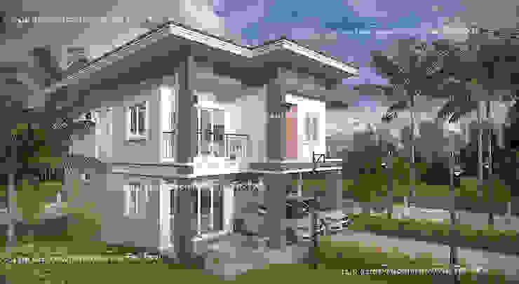 บ้านสองชั้น #แบบบ้านออกแบบบ้านเชียงใหม่ โดย แบบบ้านออกแบบบ้านเชียงใหม่ เมดิเตอร์เรเนียน