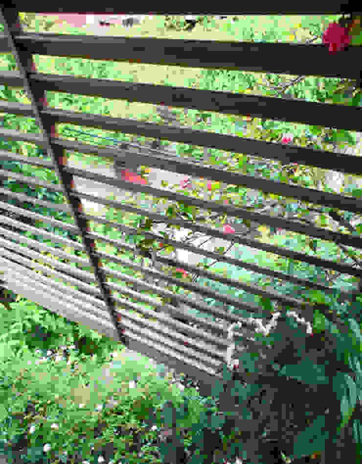 Cây xanh ở mặt tiền giúp điều hòa không khí, đem tới cảm giác tươi xanh. Cửa sổ & cửa ra vào phong cách châu Á bởi Công ty TNHH TK XD Song Phát Châu Á Đồng / Đồng / Đồng thau