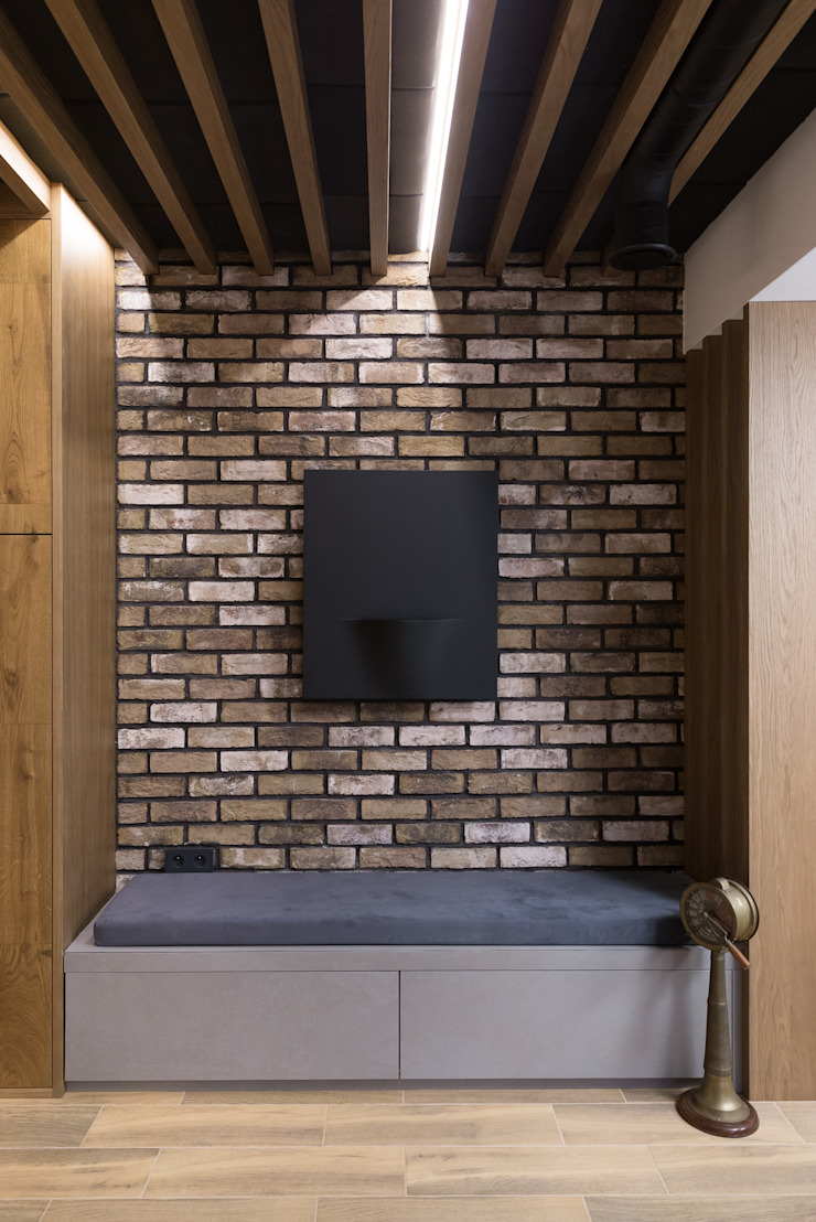 formativ. indywidualne projekty wnętrz Modern Corridor, Hallway and Staircase Bricks Red