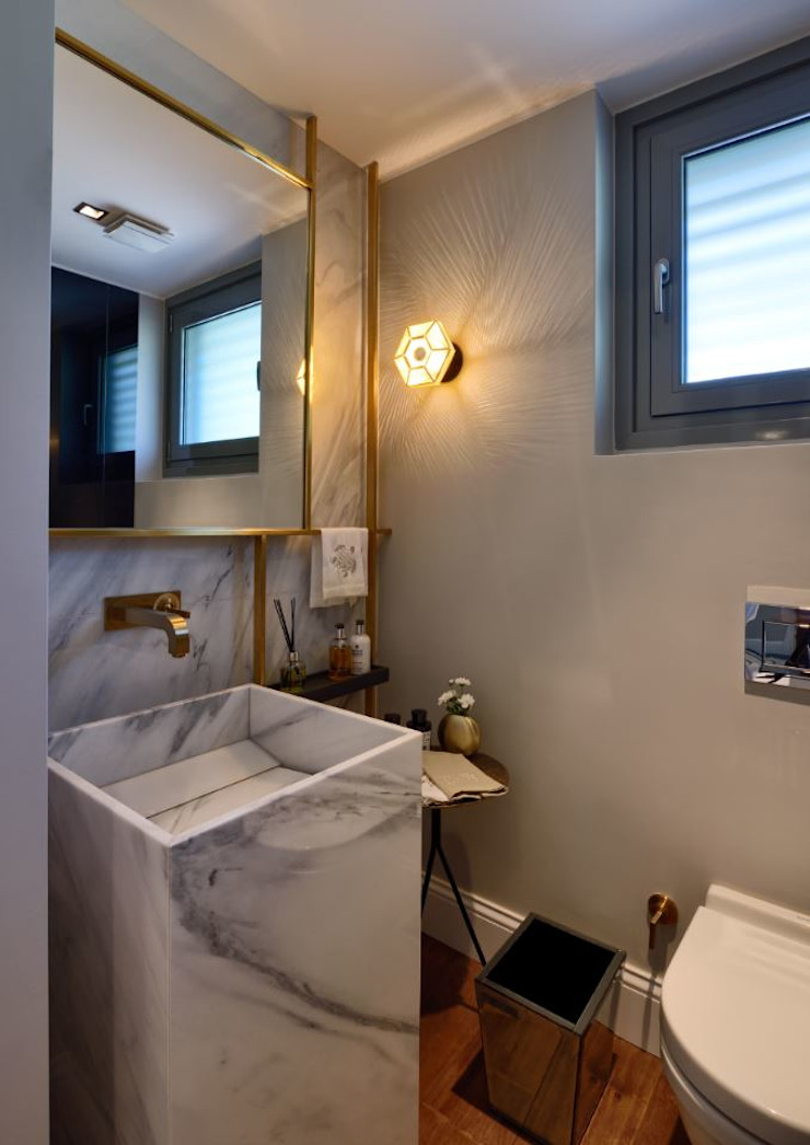 ABA HOUSE Modern bathroom by Esra Kazmirci Mimarlik Modern Limestone