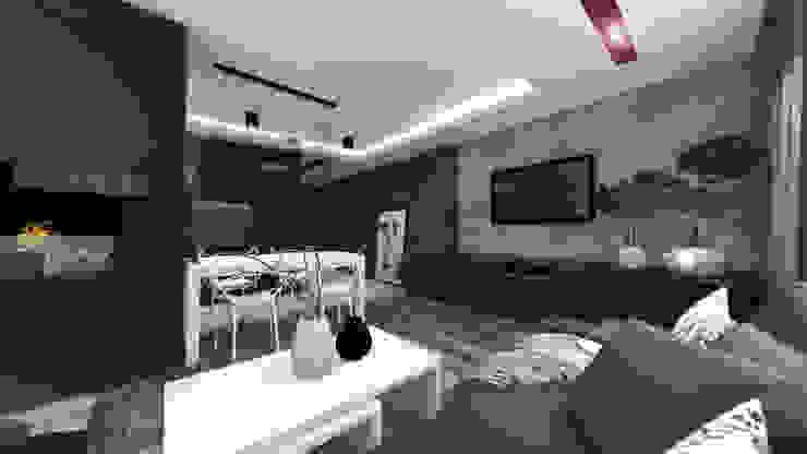Wnętrza mieszkania w Opolu Nowoczesny salon od ARCHI PL architekci SZYMON PLESZCZAK Nowoczesny