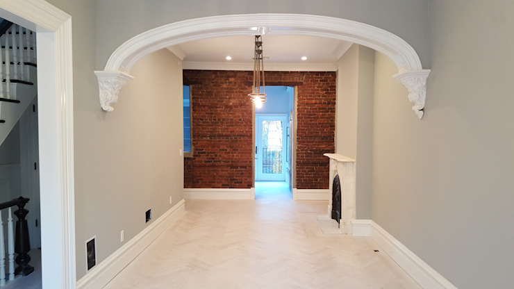 White Oak Rubio Monocoat finish with borders Classic style corridor, hallway and stairs by Shine Star Flooring Classic