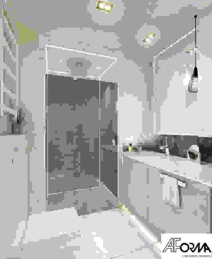 modern apartament in grey AFormA Architektura wnętrz Anna Fodemska Modern bathroom Grey