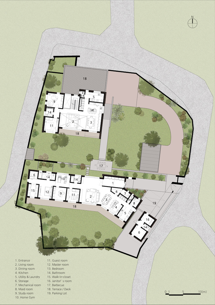 1F PLAN: (주)자림이앤씨건축사사무소의 현대 ,모던