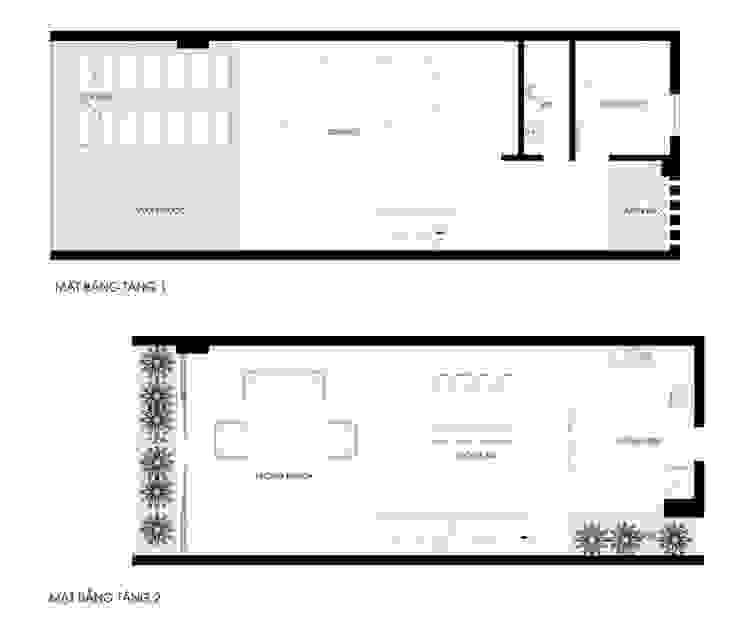 Bản vẽ mặt bằng tầng 1 và 2. bởi Công ty TNHH TK XD Song Phát Châu Á Đồng / Đồng / Đồng thau