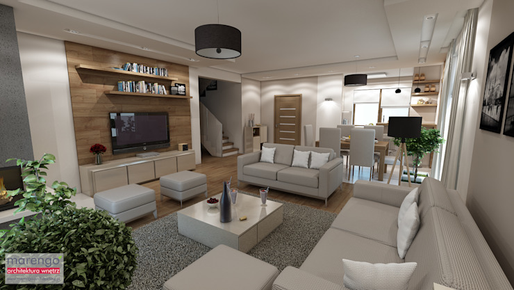 MARENGO ARCHITEKTURA WNĘTRZ Living room Beige