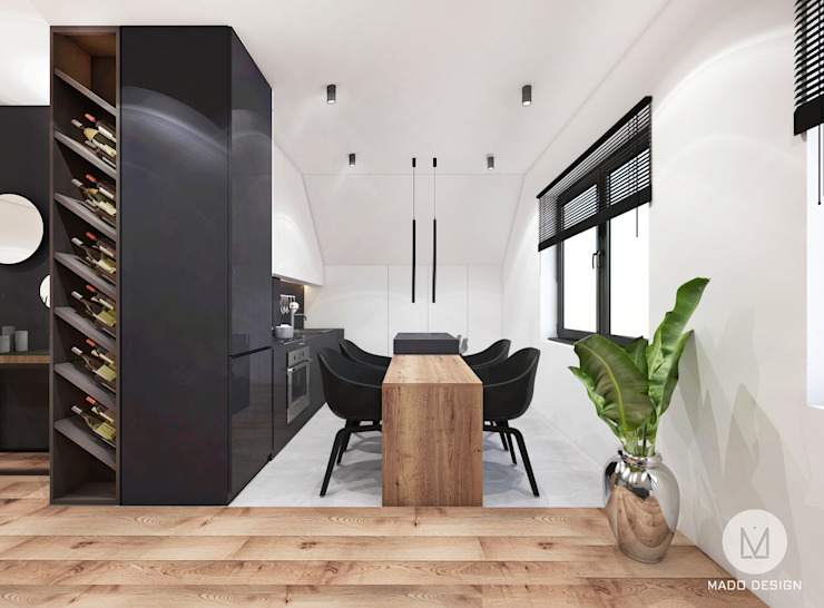 Projekt poddasza domu w Libertowie. MADO DESIGN Minimalistyczna kuchnia