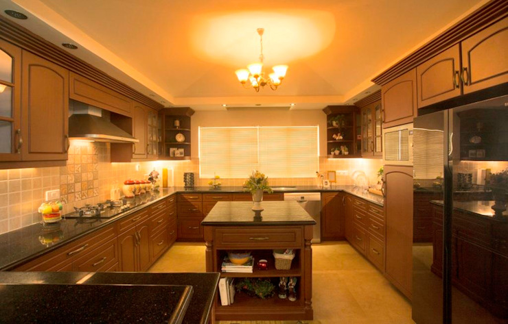 The House of Arches Mediterranean style kitchen by S Squared Architects Pvt Ltd. Mediterranean Wood-Plastic Composite
