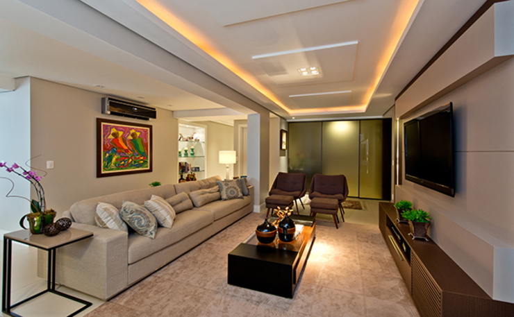 +2 Arquitetura Living room Wood Beige