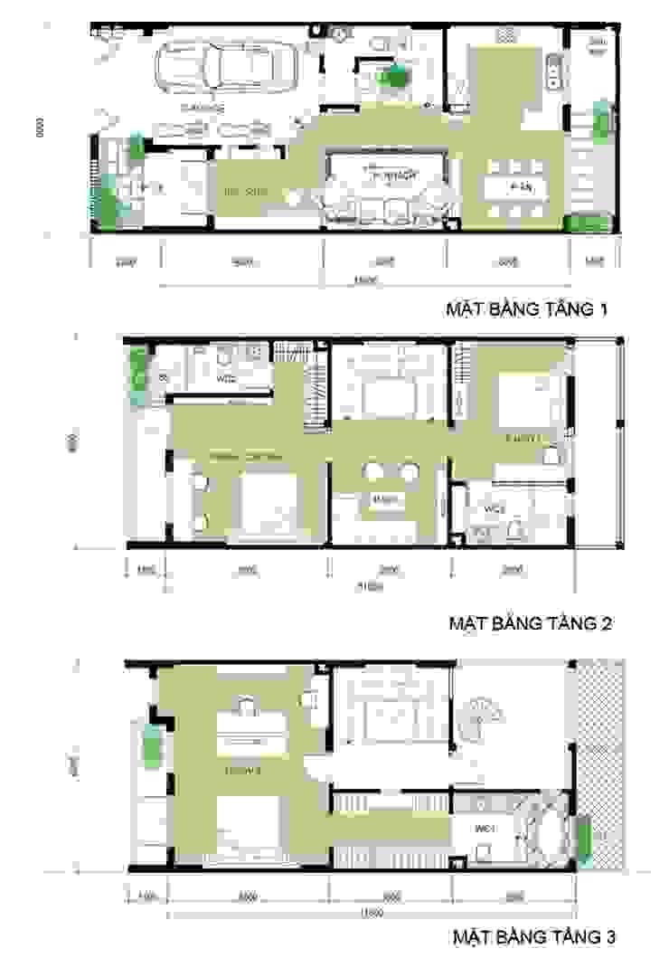 Bản vẽ thiết kế mặt bằng mẫu nhà 3 tầng bởi Công ty TNHH Xây Dựng TM – DV Song Phát Hiện đại