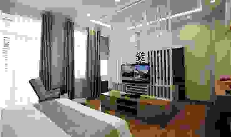 Mẫu Nhà 3 Tầng 6x13m Hướng Tây Có Thiết Kế Mặt Tiền Đẹp, Chắn Nắng Phòng ngủ phong cách hiện đại bởi Công ty TNHH Xây Dựng TM – DV Song Phát Hiện đại
