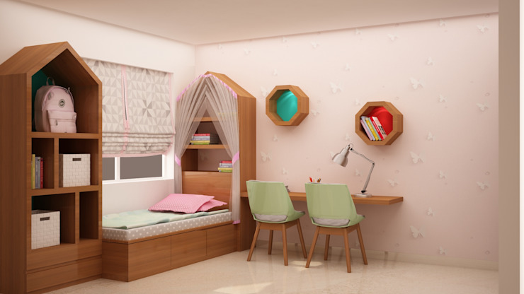 Bed, Study and storage homify Modern nursery/kids room