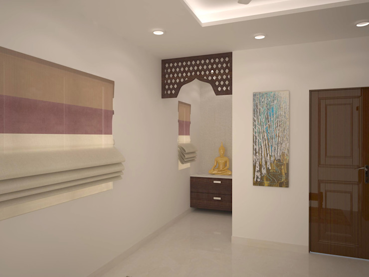Puja / Prayer area Modern corridor, hallway & stairs by homify Modern
