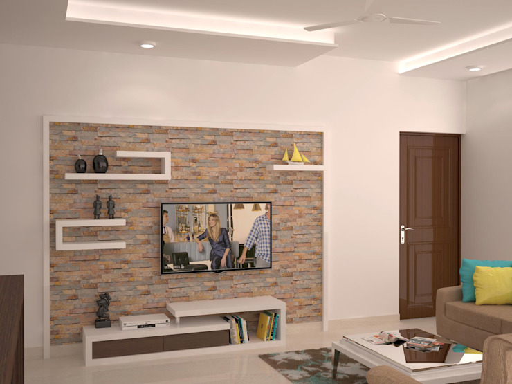 TV unit with display homify Modern living room