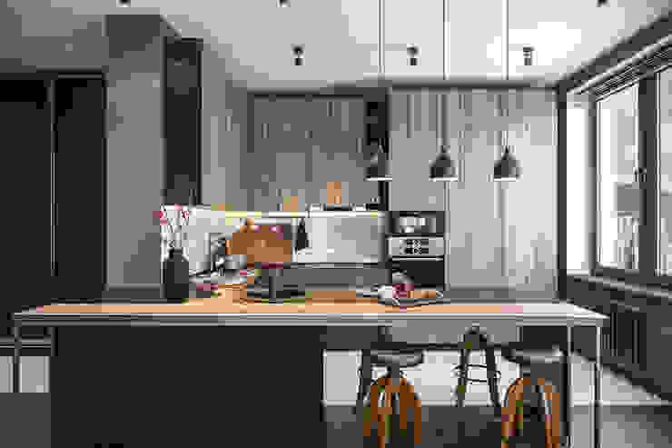 Студия архитектуры и дизайна Дарьи Ельниковой Minimalist kitchen