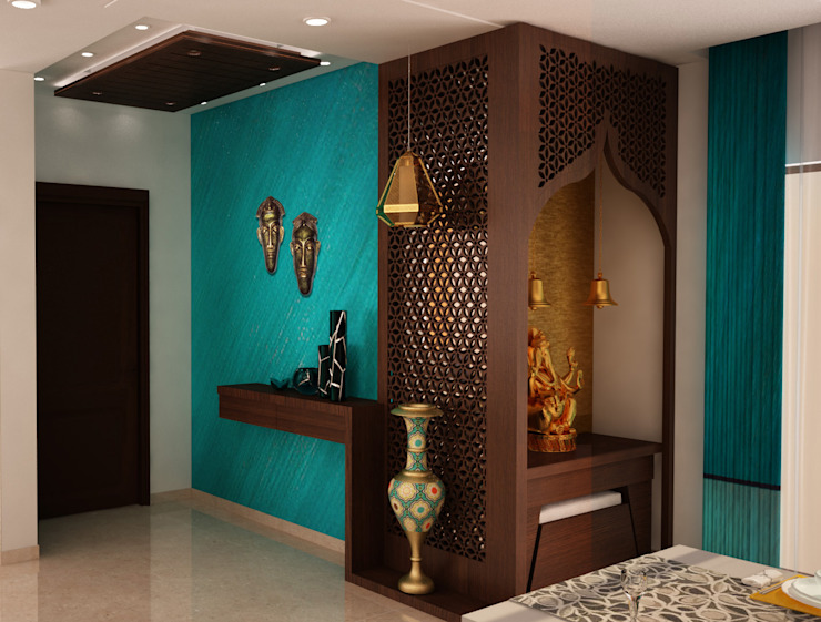 Asian classic style Foyer with Puja area Modern Corridor, Hallway and Staircase by homify Modern