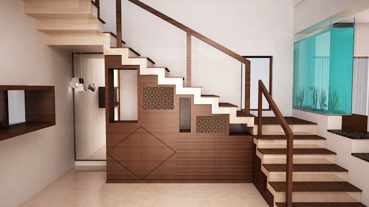 Stairs storage with display by homify Modern