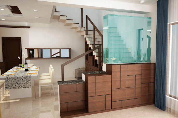 Stairs area other side with panel and Aquarium 根據 homify 現代風