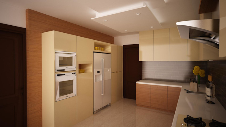 Champagne with Wood Modern kitchen by homify Modern