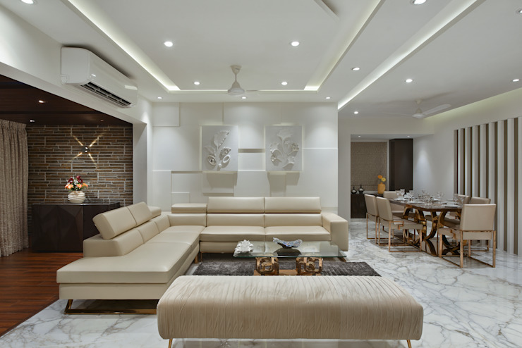 LIVING ROOM Milind Pai - Architects & Interior Designers Minimalist living room Marble White
