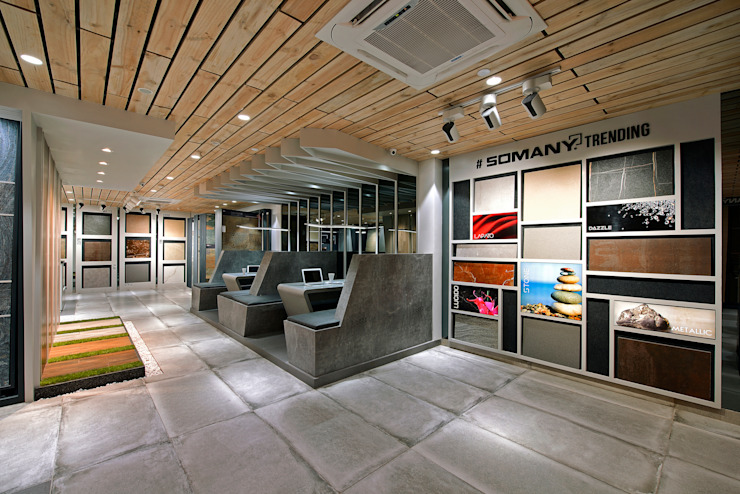 SOMANY EXPERIENCE CENTER Modern offices & stores by Ar. Milind Pai Modern