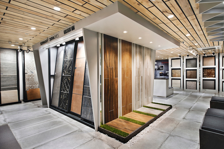 SOMANY EXPERIENCE CENTER Rustic style offices & stores by Ar. Milind Pai Rustic Tiles