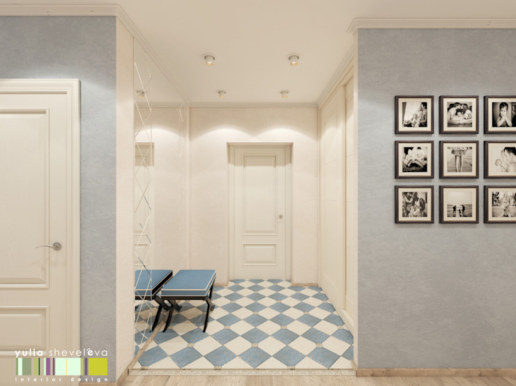 ทางเดินสไตล์คลาสสิกห้องโถงและบันได โดย Мастерская интерьера Юлии Шевелевой คลาสสิค