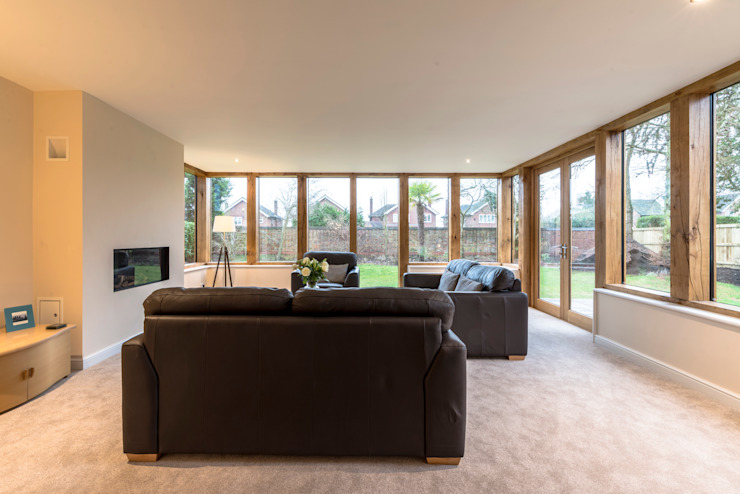 Oak Framed extension Modern living room by John Gauld Photography Modern Wood Wood effect
