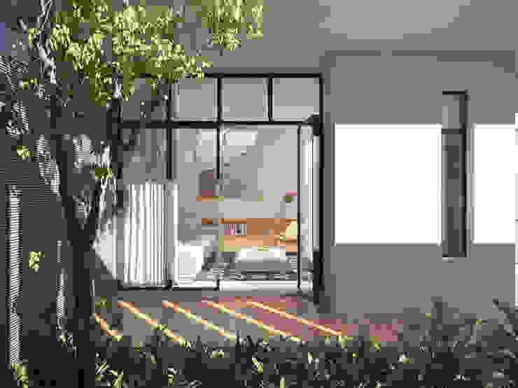 Không gian bên trong thoả mãn nhu cầu của chủ nhà với cách bố trí gọn gàng mạch lạc, đường nét tinh giản và hiện đại. Vườn phong cách hiện đại bởi K5StudiO Hiện đại
