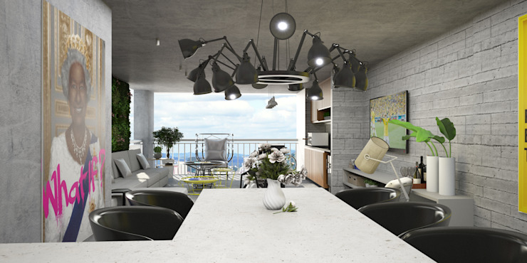 Living integrado Semíramis Alice Arquitetura & Design Salas de jantar modernas