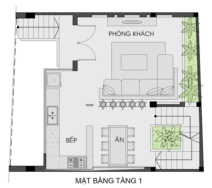 Bản vẽ thiết kế nhà phố mặt tiền 7m đẹp bởi Công ty TNHH Xây Dựng TM – DV Song Phát Hiện đại