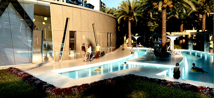 The club with swimming pools Modern pool by NMP Design Modern