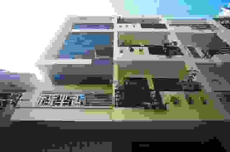 Mặt tiền ngôi nhà 3 tầng thiết kế hiện đại. bởi Công ty TNHH TK XD Song Phát Châu Á Đồng / Đồng / Đồng thau