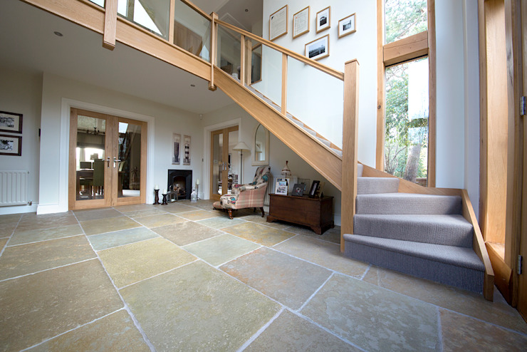 A Beautiful Entrance: Umbrian Limestone Quorn Stone Rustic style corridor, hallway & stairs Limestone