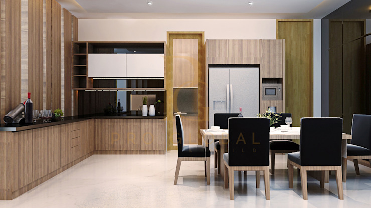 Kitchen Area & Dining Room Oleh homify Minimalis Kayu Wood effect