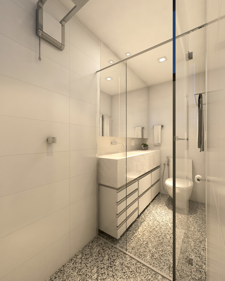 RAFE Arquitetura e Design Minimalist style bathroom Marble White