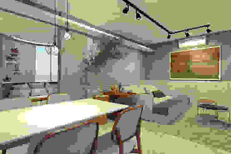 RAFE Arquitetura e Design Living room Bricks Grey